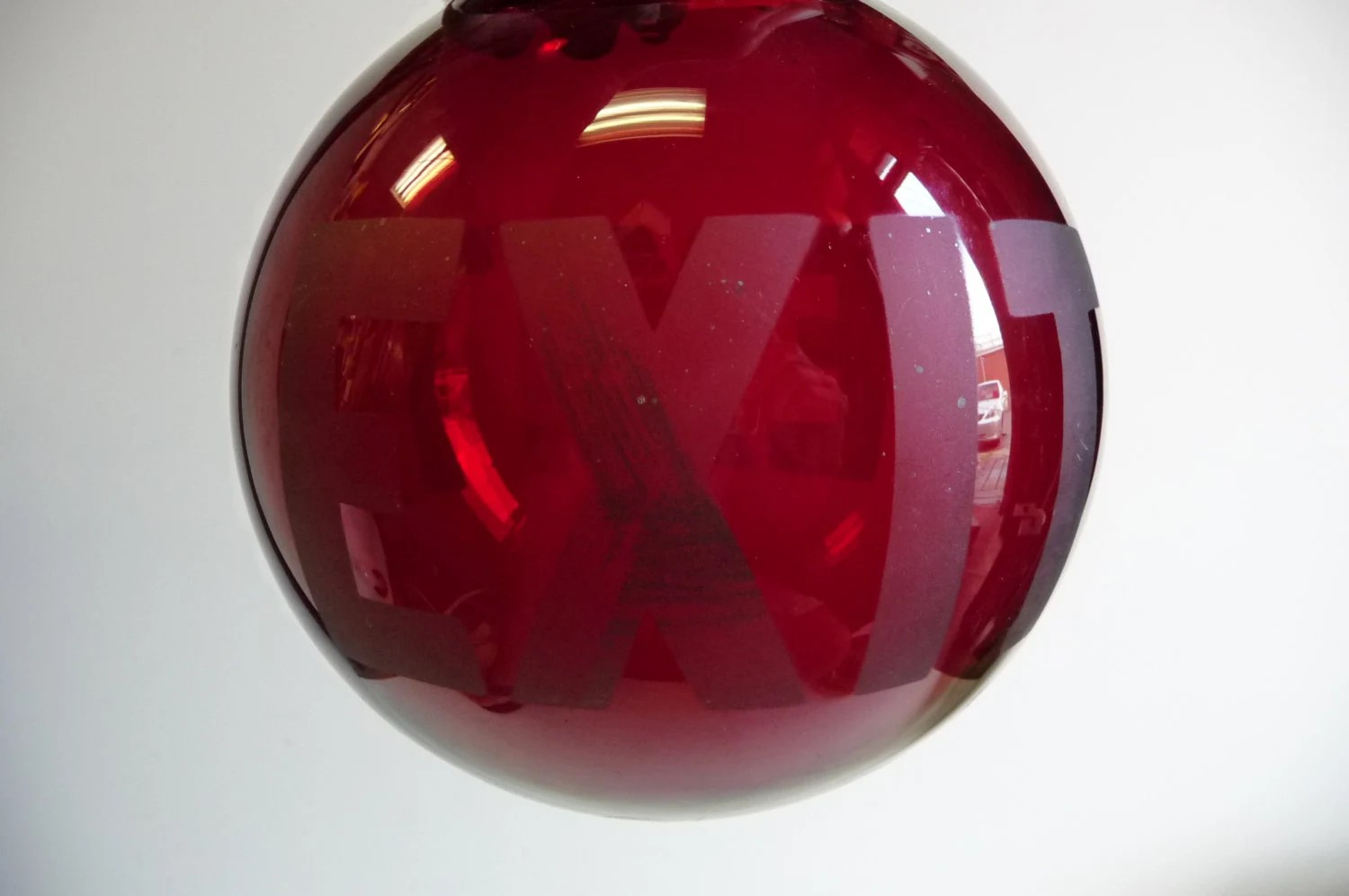 Antique EXIT Red Glass Globe Ceiling Light Fixture Shade