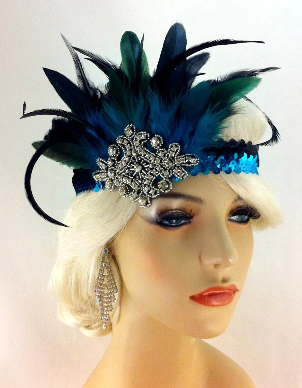Great Gatsby Headband, Flapper Headband, Downton Abbey, Headband, 1920s Head Piece, Art Deco Headband, Turquoise and Black, Speakeasy