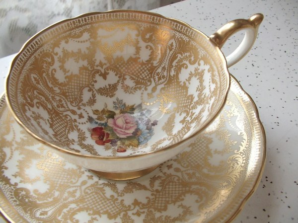 Antique Aynsley bone china tea cup and saucer JA by ...