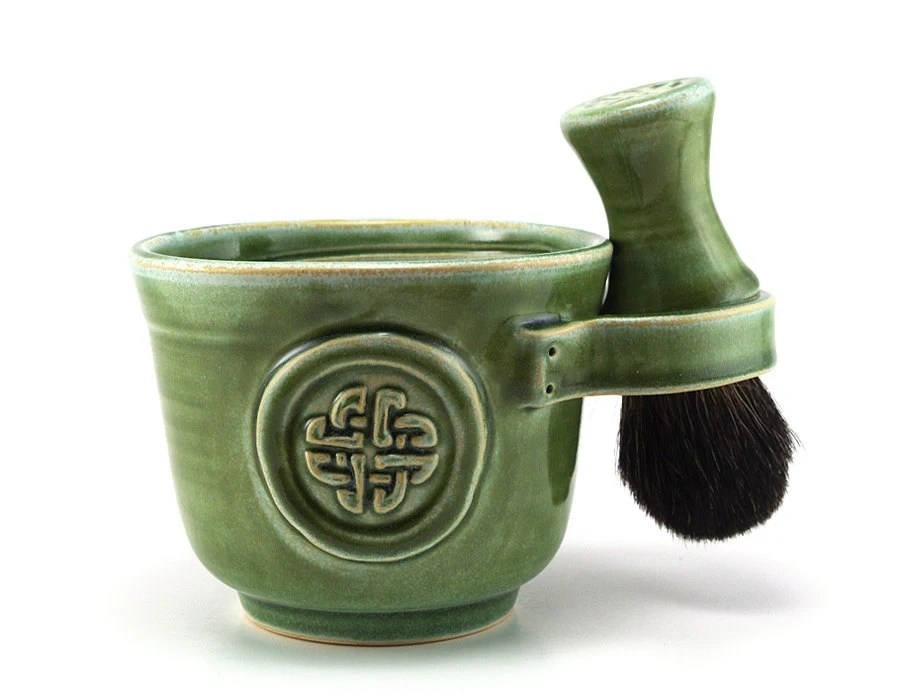 Celtic Knot Shaving Set:  Green Shave Mug, Black Badger Hair Shave Brush, Shave Soap, Irish, Celts, Fathers Day Gift by MiriHardyPottery - MiriHardyPottery