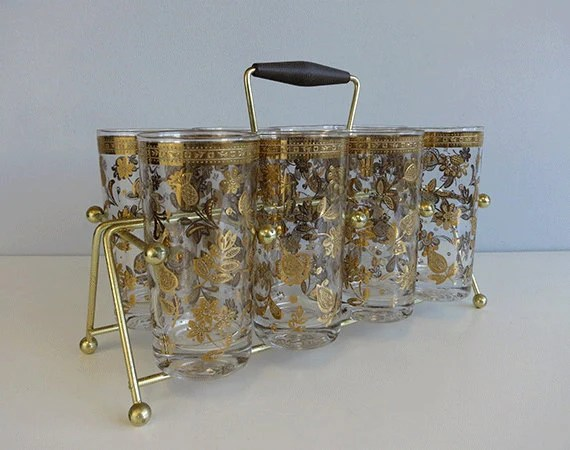 Vintage Culver Barware Set / 1960s Set of 8 Gold Foil Embossed Floral Tumblers with Stand