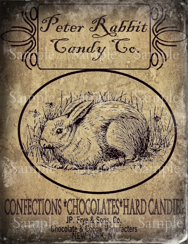 Primitive Chocolate Bunny Rabbit Feedsack Logo Pantry Jar
