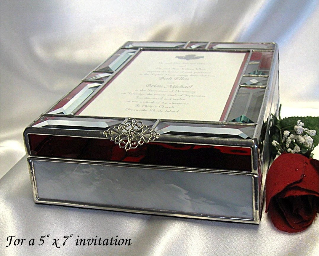 Wedding Invitation Keepsake Gift Box In Stained Glass For A