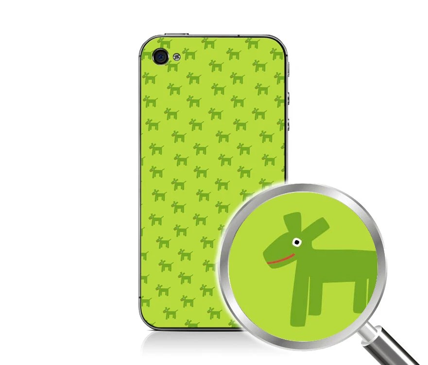 Green Dogs iPhone 4/4S Decal PLUS Matching Wallpaper, Back to School Accessories, iPhone 4, iPhone 4S, Trendy Cute Lime Dog Pattern - PrtSkin
