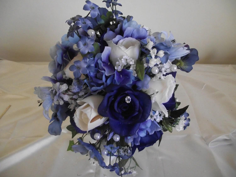 Round Wedding Silk Bouquet Dark Blue White By Cherylsbouquets