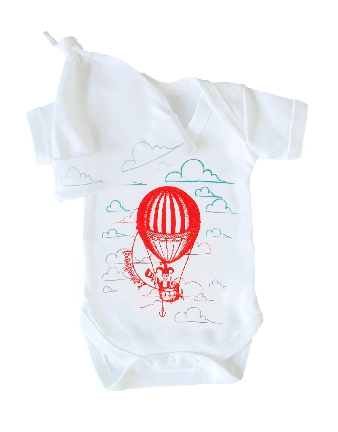 Hand printed baby short sleeve bodysuit and knotted hat gift set