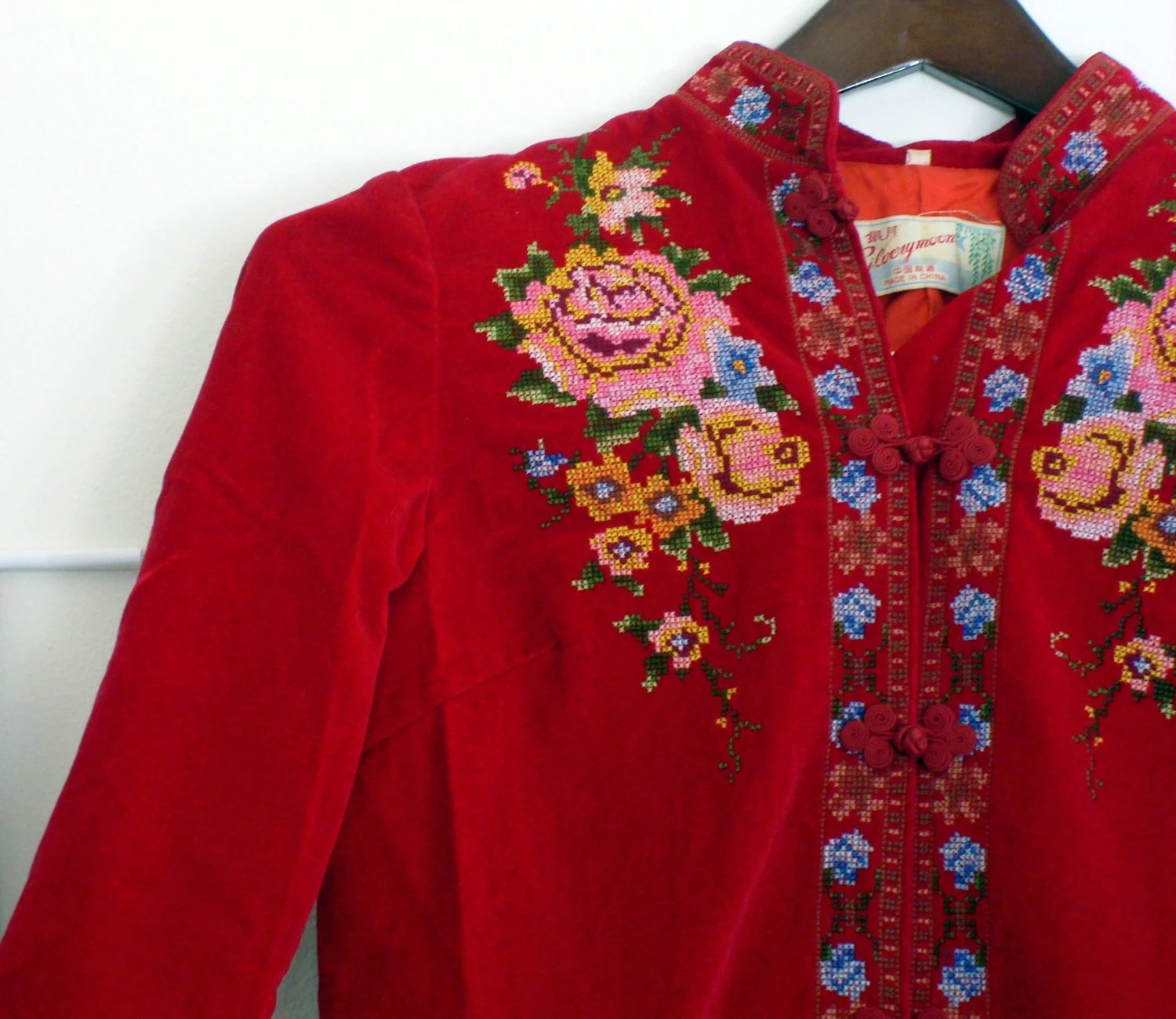 Vintage Chinese Tunic, Hand Embroidered Cross Stitch Red Velvet Long Sleeved Top or Micro Mini Dress - whimsiclecreations