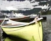Canoe Photo, Chartreuse, Fine Art, Photography Print, Summer at the Lake, Beach House Decor, Feminine Art - j2studiosphotography