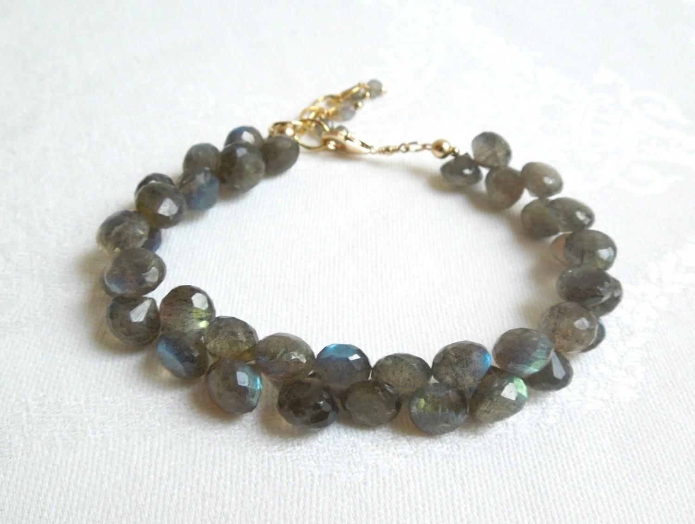 Labradorite Bracelet: Gray Gemstones-14K Gold Fill Chain - seemomster