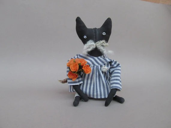 Primitive Fantasy Black Cat - Cheshire Cat. Rag doll, stuffed, home decor.