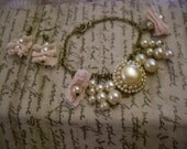 Vintage Bracelet and Earring Set /faux pearl and pink lace /Recrafted