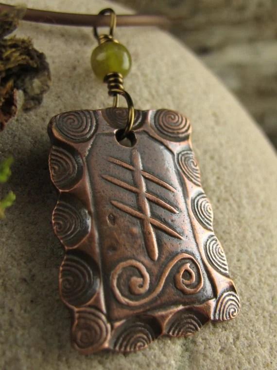 Reed Ogham Copper Pendant Celtic Tree Astrology Connemara