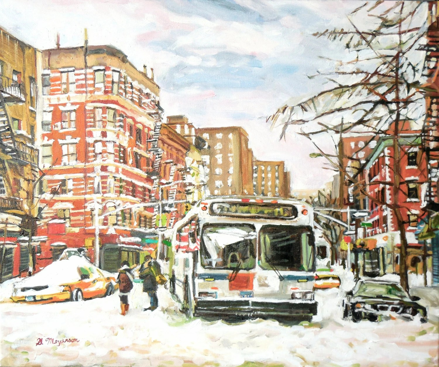 East Village In Snow Fine Art Print  New York winter Cityscape white red brown Painting by Gwen Meyerson - GwenMeyerson