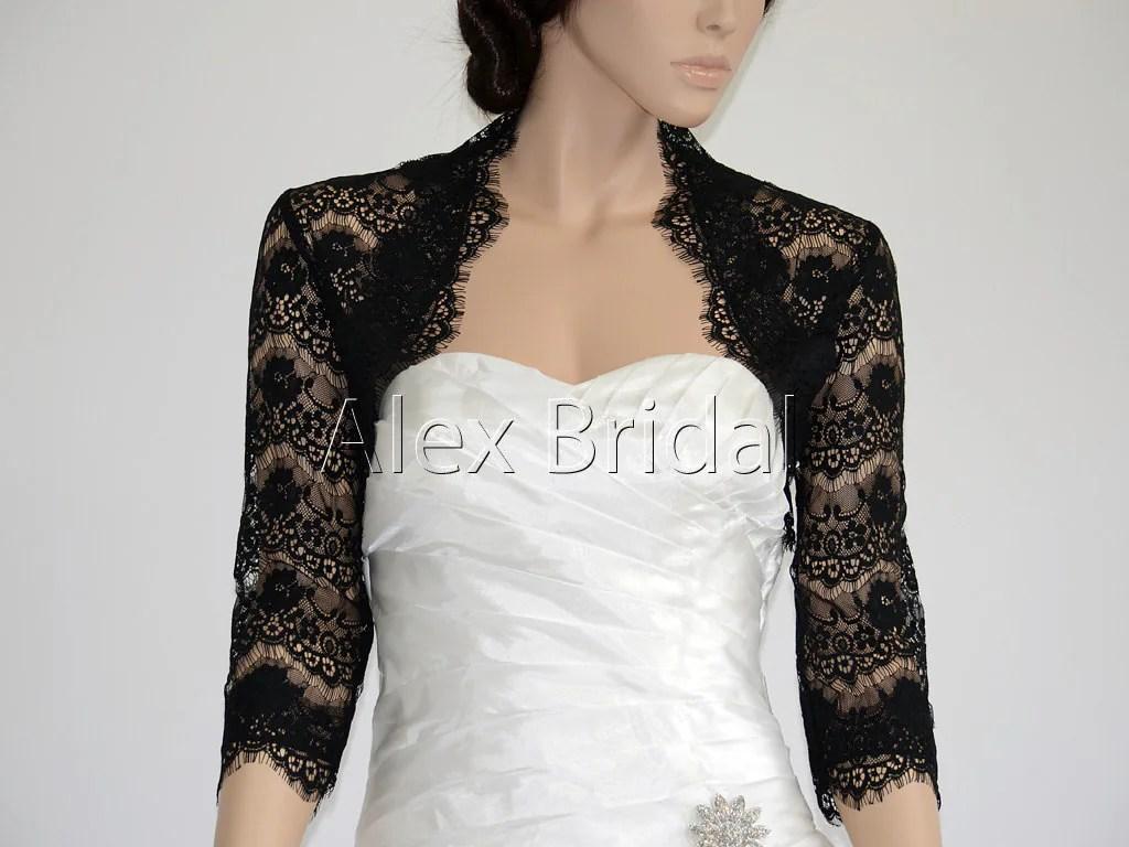 3/4 Sleeve Black Lace Bolero Wedding Jacket