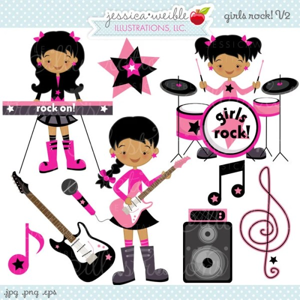 Girls Rock V2 Cute Digital Clipart Commercial by