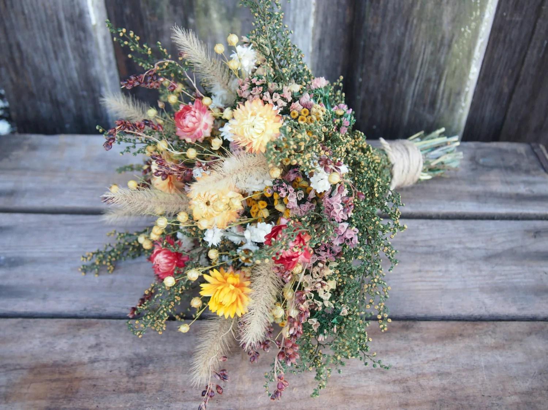 FARMHOUSE Yellow Bridesmaid Dried Flower Bouquet For A