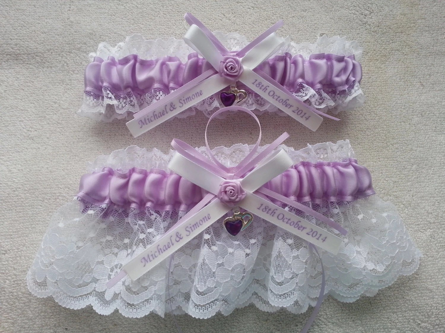 Lilac And White Personalized Wedding Garter Set Lace Garter