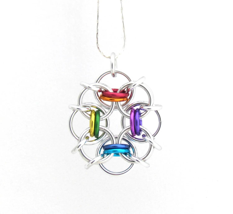 Rainbow Pendant Chain Maille Jewelry Multicolor Pendant