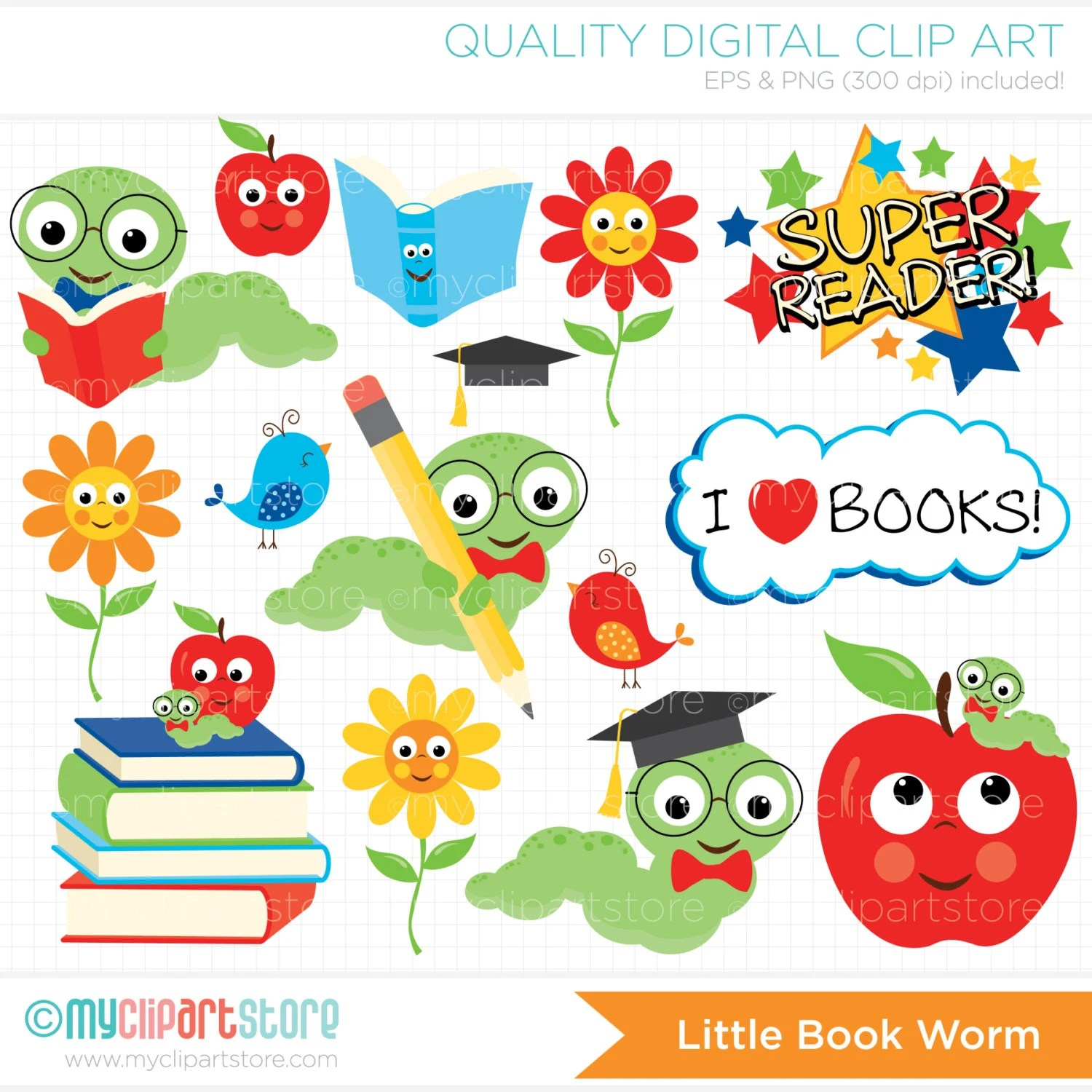 Back To School Clipart Book Worm Books Apple Kids