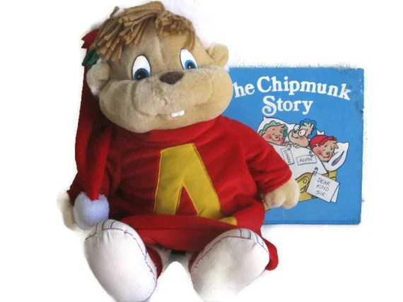 "Vintage Alvin and the Chipmunks Doll & Book: Alvin in Santa Hat and ""The Chipmunk Story"""