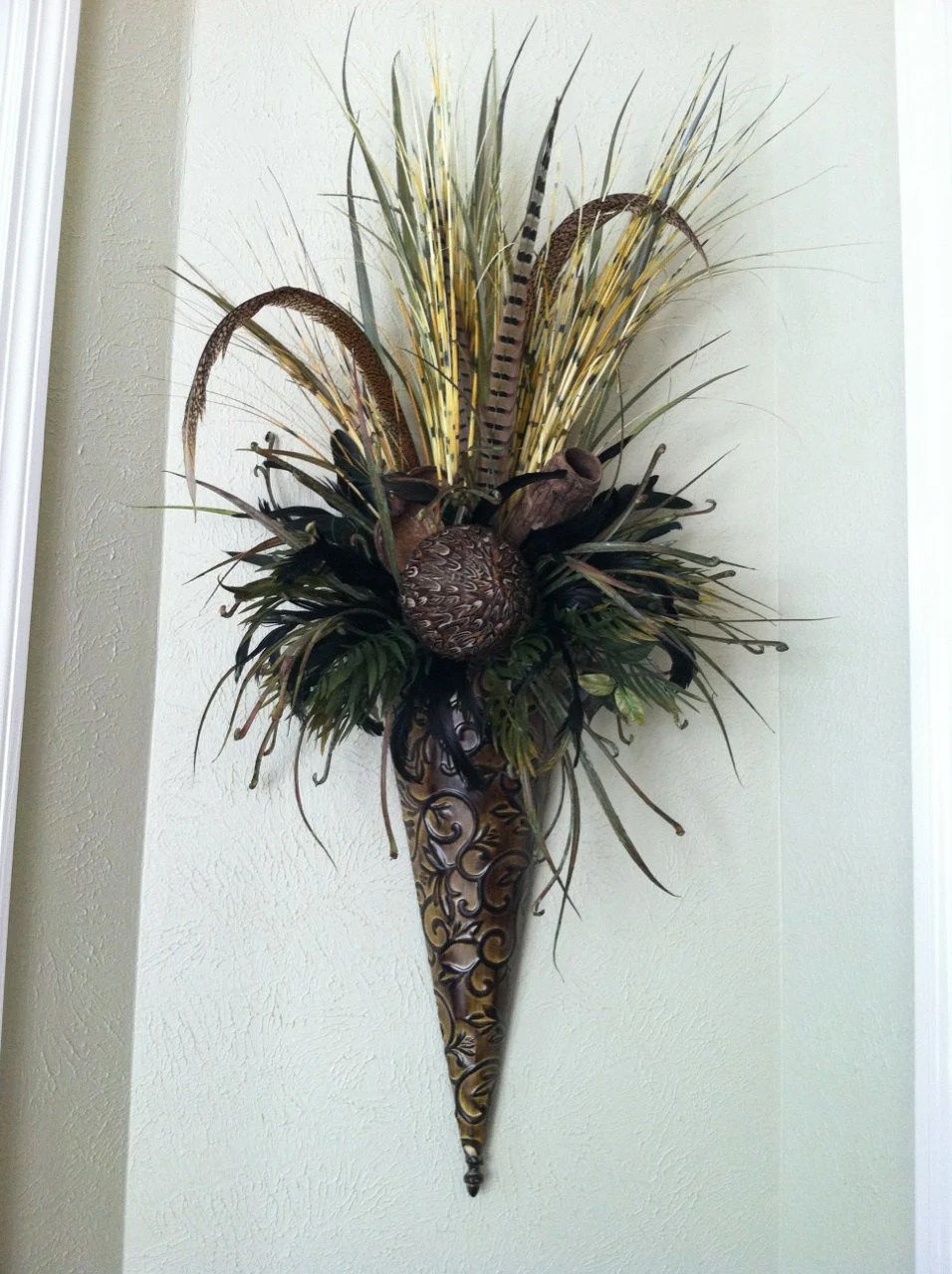 Extra Large Wall Sconce Feather Wall Pocket by ... on Flower Wall Sconces id=82454