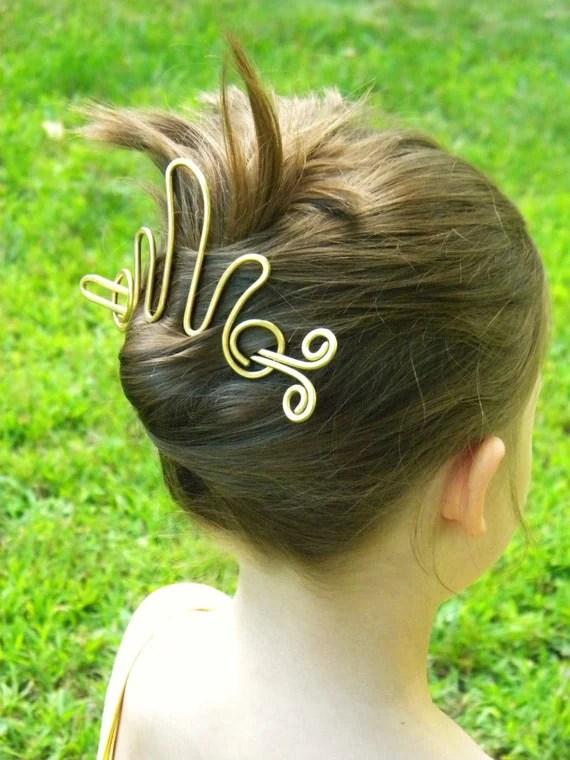 Items Similar To Brass Hair Slide Gold Hair Stick Hair