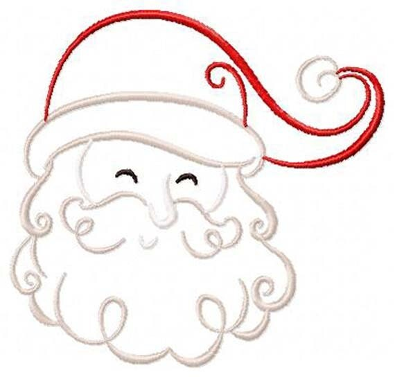 Items Similar To Art Deco Style Santa Face Outline Machine