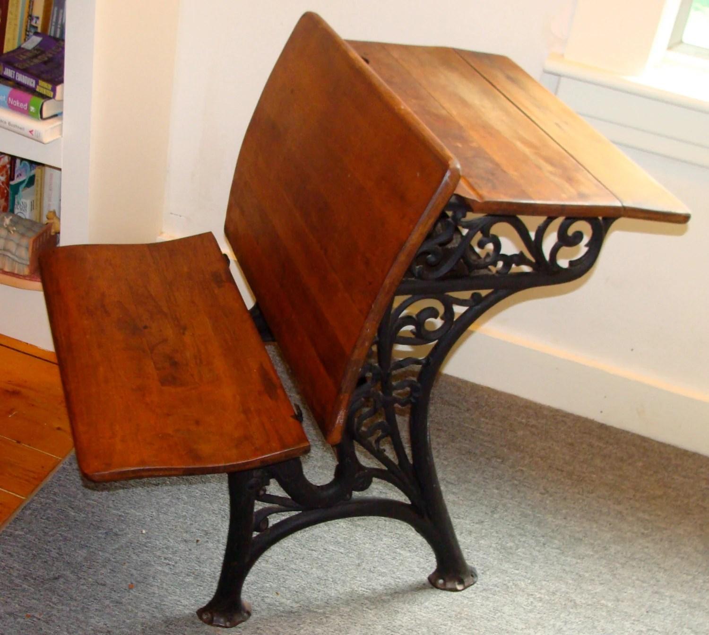 VICTORIAN era SCHOOL DESK  -- Cast Iron and Wood -- fold down seat