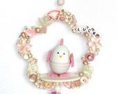easter gift idea baby children room deco easter pink silver white pastel jewelry guardian angel bird chick hearts - LonasART