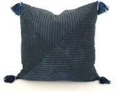Dark blue wide wale corduroy pillow cover for 20-inch insert