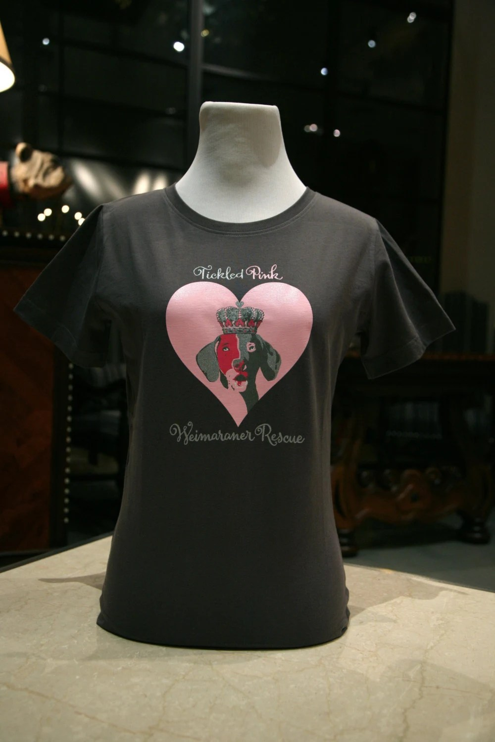Charcoal Gray Weimaraner T-Shirt to Support Rescue