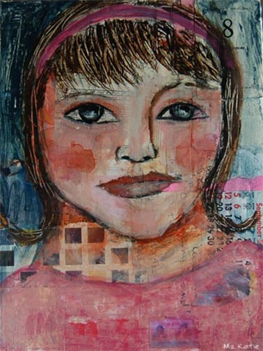 Acrylic Portrait Collage Painting 9x12 Original, Mixed Media, Woman, 50s Girl, Pink, Face, Headband, Blue Eyes