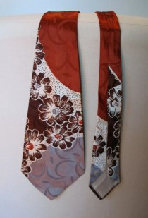 Vintage 1940s Necktie - Satin Rayon Flowers and Block Colours