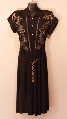 Vintage 1940s Dress with Gold Beading and Goldtone Belt