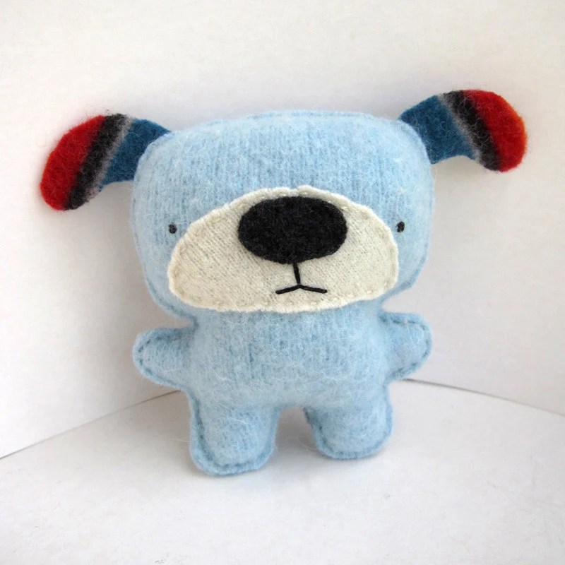 Light Blue Dog - Recycled Wool Plush Toy