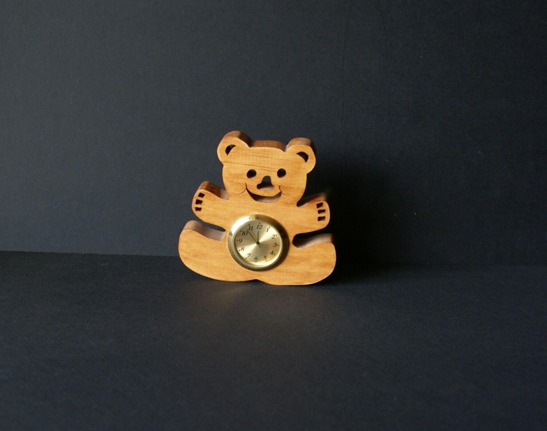 Teddy The Bear Wood Shelf Sitter Clock