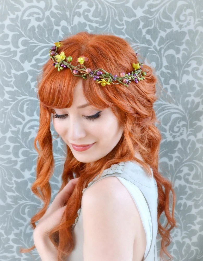 Rustic berry crown, autumn hair wreath, whimsical headpiece, hair accessory - gardensofwhimsy