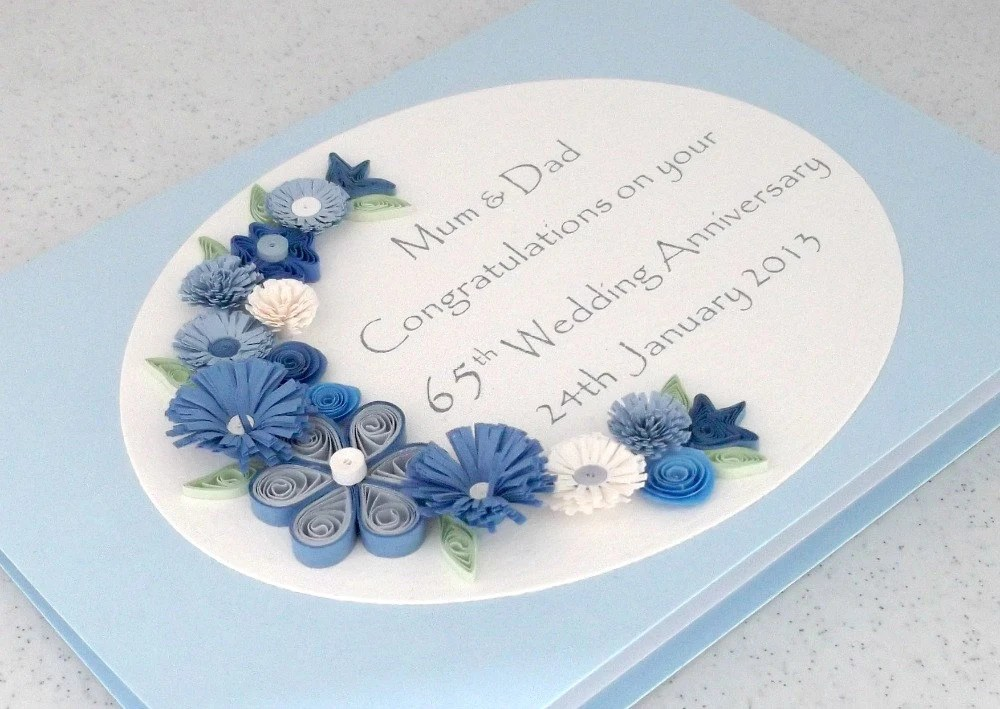 Quilled 65th Sapphire Wedding Anniversary Card By