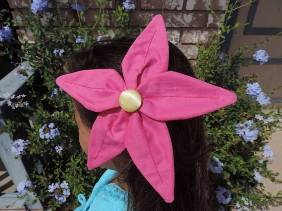 Little Mermaid Flower Hair Clip Handmade Magenta Pink Petals
