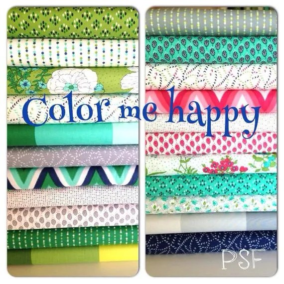 Color Me Happy from V and Co and Moda fabrics, Assorted fabric bundle, FQ of each 22 total