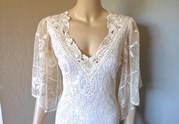 RESERVED Jani Cream Crochet LACE Wedding Dress Flutter Sleeve