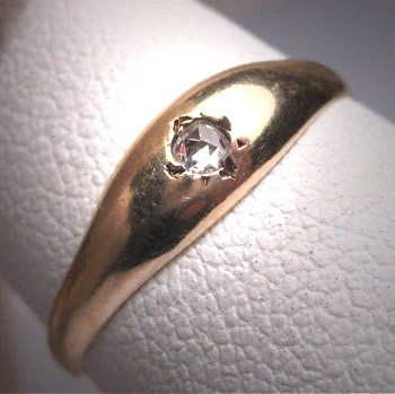 Antique Georgian Rose Diamond Ring Wedding Band 1800s