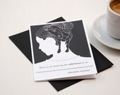 Virginia Woolf Blank Greeting Card, Black Envelope and Notecard, Literary Quote, Black - ObviousState