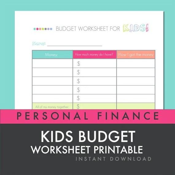 Kids Budget Worksheet Printable Personal Finance