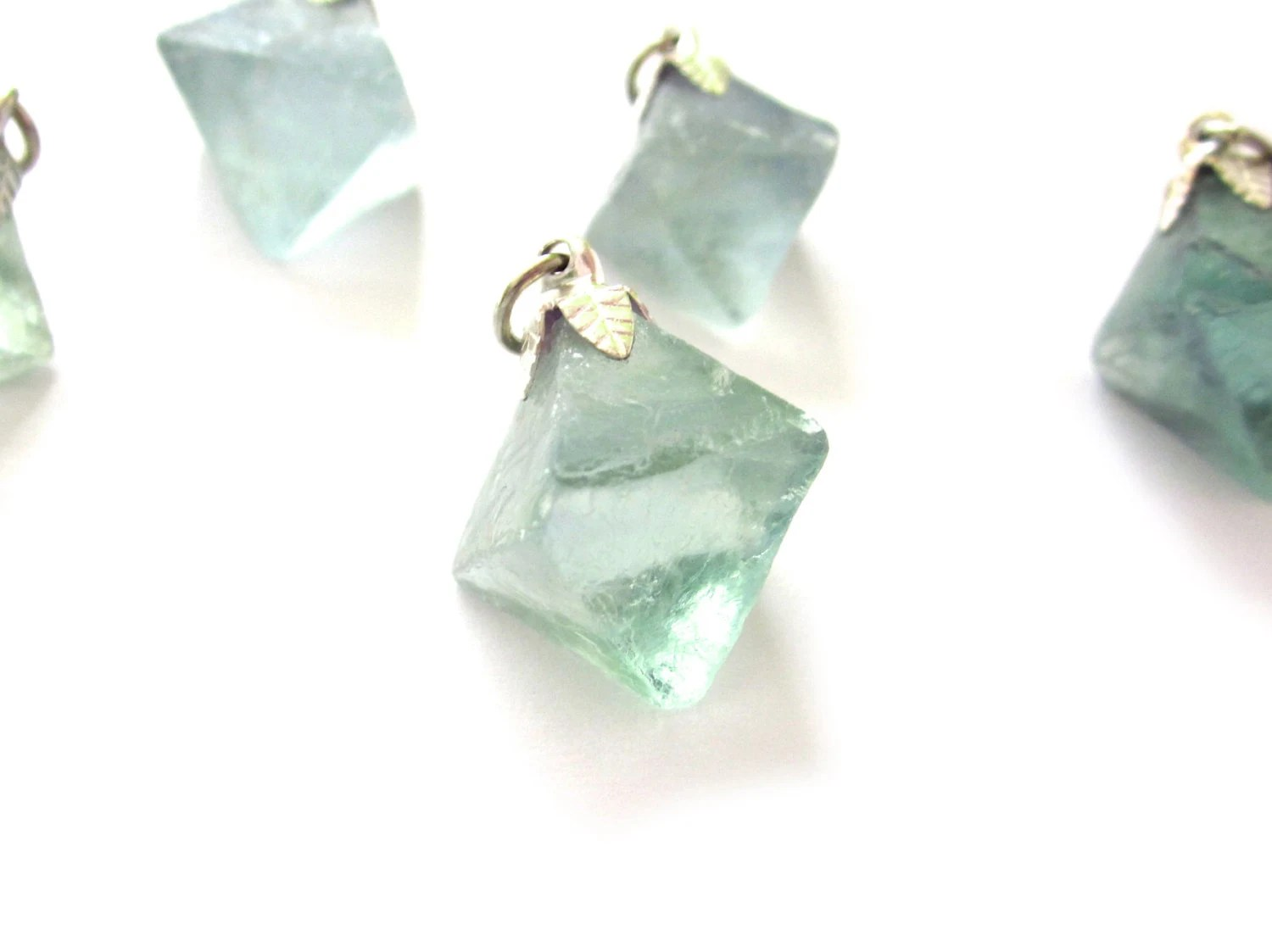 Fluorite Octahedron Pendant 1 Blue Green Raw Crystal With Cap and Bail, Silver, Pewter, Natural, Mint, Aqua (Lot No. FL08A) - instantkarmashop