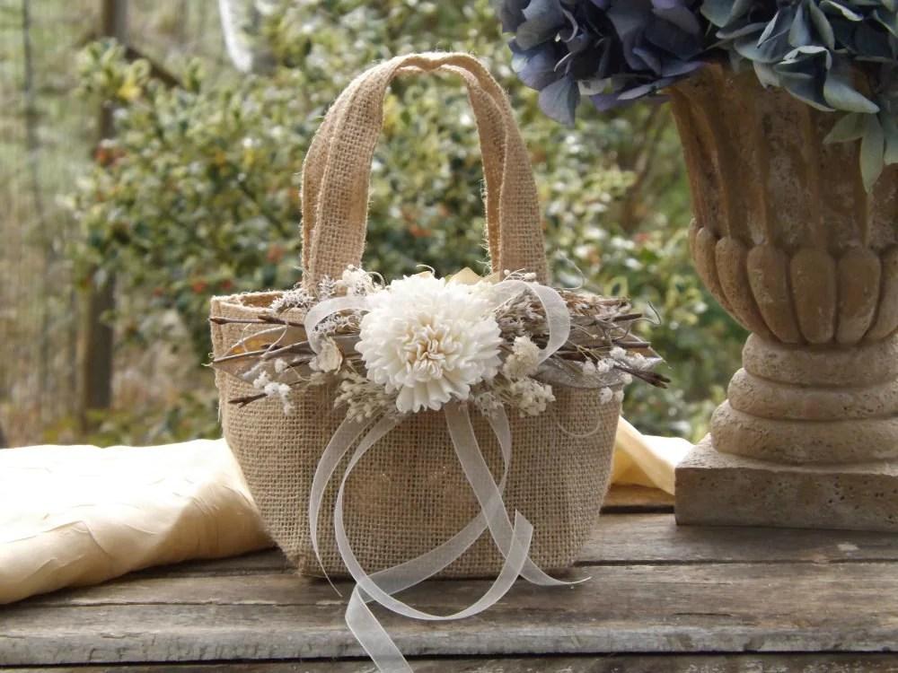 Burlap Flower Girl Basket With Sola Flower Twigs Rustic