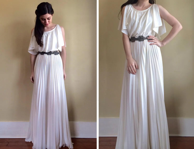 Vintage 70's Greek Goddess Wedding Dress With By