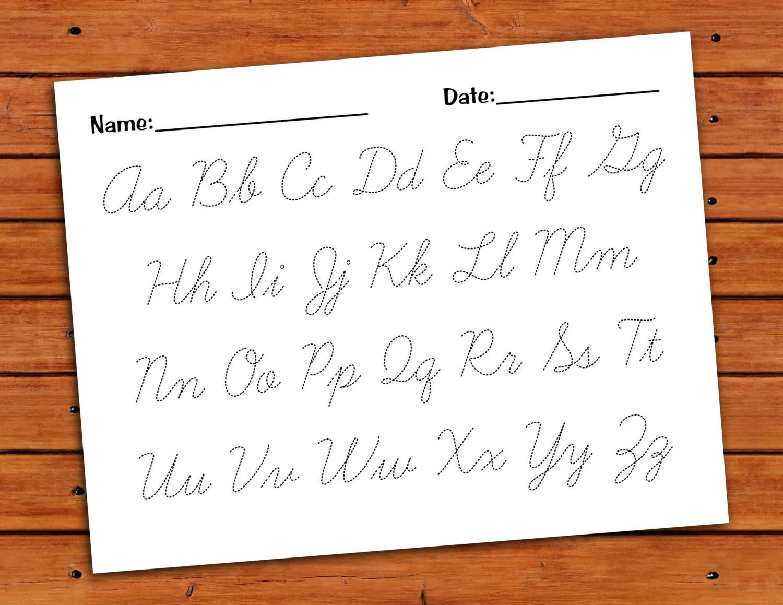 Cursive Alphabet Trace Worksheet Printable