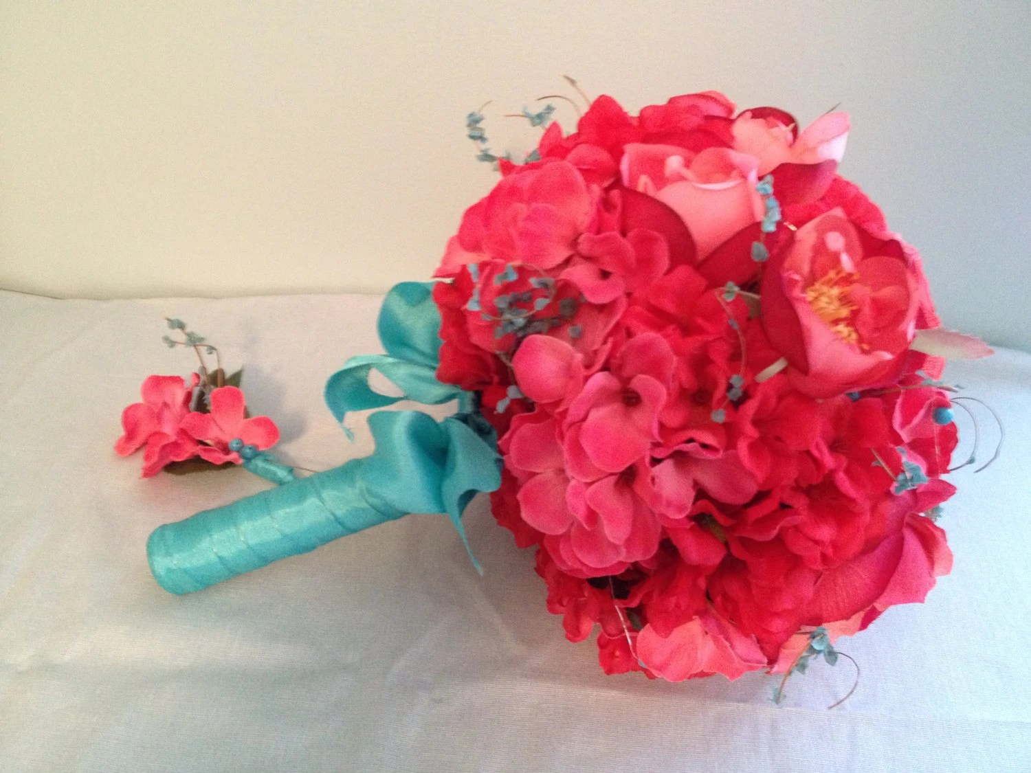 Wedding Bouquet In Coral And Teal