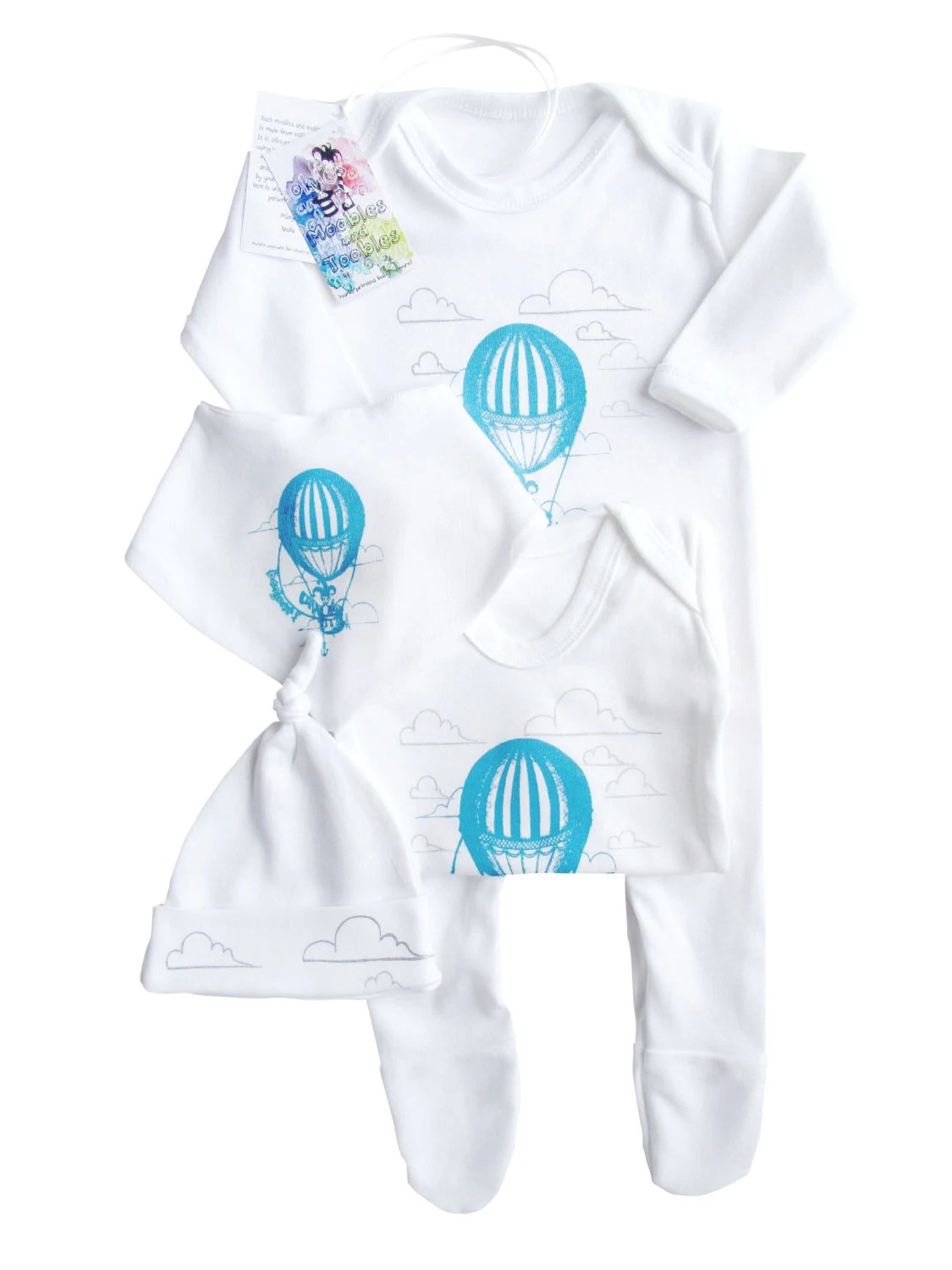 Beautiful hand printed baby four piece gift set